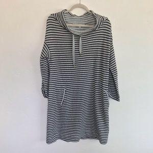 LOFT NWT Gray & Black Striped Sweatshirt Dress L